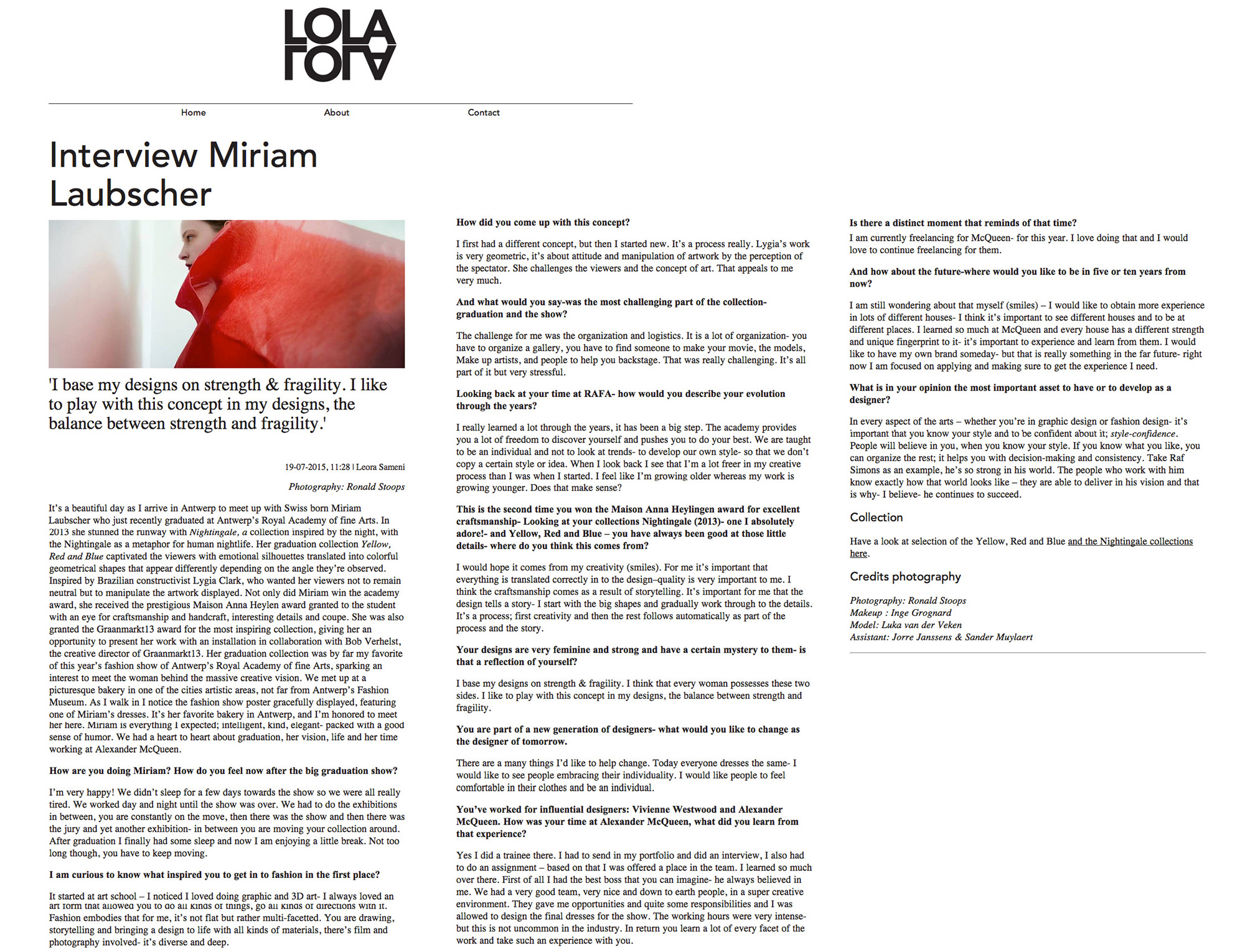 miriam laubscher press lola online blog interview